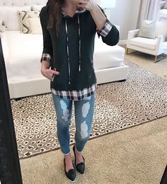 I have a confession... actually two of them. #1.  I've never in my life shopped on black friday Crazy, right?!?! #2. This plaid hoodie is already layered for you! It's all one piece just throw it on a go! And I'm pretty much dying over all of our new shoes! The perfect black flats