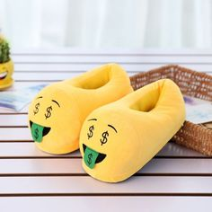 Emojis for your feet? You will fall in love with these cute plush emoji slippers. One Size Fits Most. Pick your favorite style now! Le Emoji, Funny Emoji, Smileys, Funny Slippers, Hello Kitty Rooms, Cartoon Expression, Winter Slippers, Baby Girl Toys, Winter House