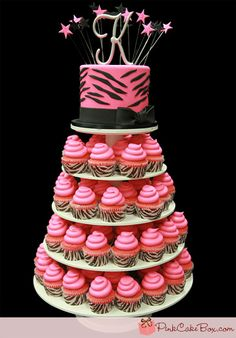 Pink Zebra Print Cupcake Tower by Pink Cake Box in Denville, NJ.  More photos and videos at http://blog.pinkcakebox.com/pink-zebra-print-cupcake-tower-2012-01-25.htm
