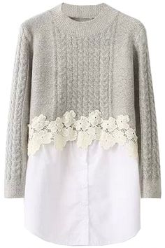 Suéter de 2PCs Mock con el ajuste del cordón - OASAP.com