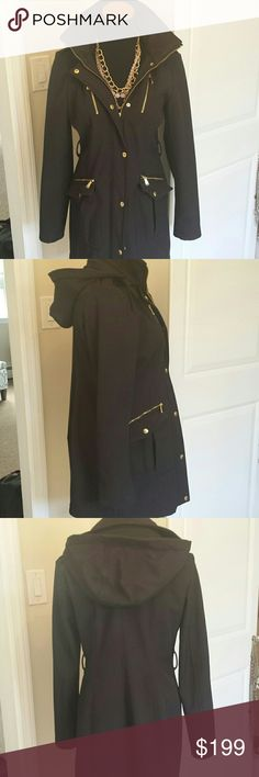 Michael Kors Water Resistant Hooded Winter Coat Gorgeous warm and long coat from Michael kors. Removable hood. Zipper and snap up front. Warm fuzzy interior. Gold hardware. Beautiful and perfect for fall and winter. Michael Kors Jackets & Coats