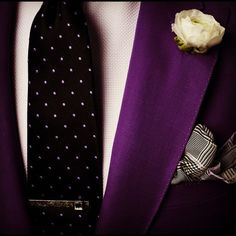 "my soul said, ""YES!""...I'm thinking this is what I want my groom wearing for my wedding! Love the purple suit-coat!"