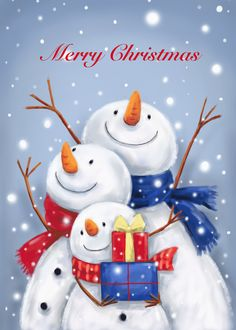 Cheerful snowman family in snow to celebrate Christmas time. Personalize any greeting card for no additional cost! Cards are shipped the Next Business Day. Snowmen Paintings, Christmas Paintings On Canvas, Illustration Noel, Christmas Illustration, Illustrations, Cute Snowman, Christmas Snowman, Christmas Time, Snowmen Pictures