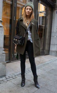 Blogger Style   Linn Seljeset (Fashionjunkiie): khaki green coat x beanie x striped shirt x black skinny jeans x boots c proenza shouler ps11 bag  #falloutfit #fallstyle