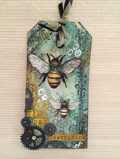 No link to the original Card Tags, Gift Tags, Timmy Time, Mixed Media Cards, Bee Cards, Handmade Tags, Tag Design, Paper Tags, Artist Trading Cards