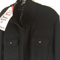 -GR BANANA REPUBLIC MENS M Black zip sweater -GR Banana Republic Men's Black zip front turtleneck sweater jacket Sz M Part of Tagged costume for main character Darius from TV SHOW GRACELAND. No price tags. Seems lightly worn.  Long ribbed cuff Sleeves, full zip front, covered zip placket, breast snap front pockets. patch pockets, side front slash pockets. Made of Cotton Viscose Nylon Blend. Chest- 40 Waist- 38 Length from Shoulder seam to hem- 17.5, sleeve length- 28.  Tag states from the…