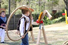 """Party Game -We made these """"lassos"""" by wrapping small hula hoops in sisal rope from Home Depot..."""
