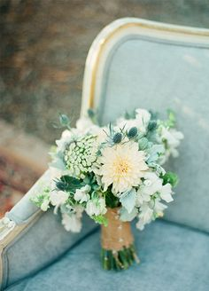 Pale blue, green, and cream bouquet