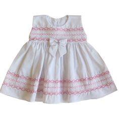 Vestido branco para bebe com detalhe rosa | CegonhaFeliz.com