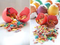 one of my favorite ideas, filling eggs with confetti!! Growing up, my mom would make these for me to take to school for Easter or for birthday events. this game was a blast, thanks mom!