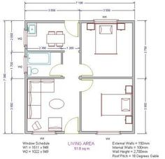 Low cost housing plans - plan for a 54 square meter two bedroom home - low-income Low Cost House Plans, Affordable House Plans, Simple House Plans, New House Plans, House Floor Plans, House Plan Creator, Two Bedroom House Design, Cluster House, House Construction Plan