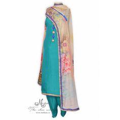 Pretty teal green salwar kameez complemented with printed dupatta-Mohan& the chic window Punjabi Salwar Suits, Salwar Kameez, Patiala, Anarkali Suits, Indian Ethnic Wear, Ethnic Dress, Indian Party Wear, Indian Suits, The Chic