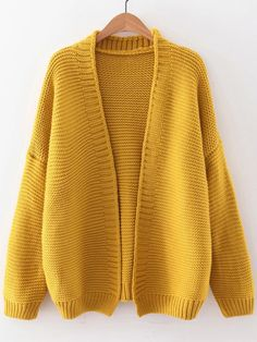 SheIn offers Yellow Open F… Shop Yellow Open Front Drop Shoulder Cardigan online. SheIn offers Yellow Open Front Drop Shoulder Cardigan & more to fit your fashionable needs. Yellow Cardigan, Chunky Cardigan, Open Cardigan, Cardigan Shirt, Short Sleeve Cardigan, Long Sleeve Shirts, Long Shirts, Yellow Long Sleeve Tops, Long Length Shirts