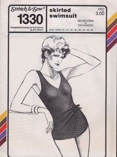 Stretch and Sew 1330 1980s  Misses Skirted  Swimsuit womens vintagr sewing pattern by mbchills