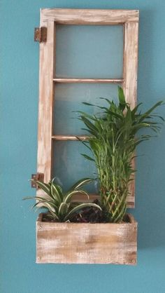 Old window and pallet planter