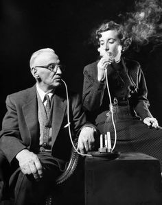 "Among the inventions exhibited at the International Gadget and Invention Show in 1958 was this ""remote smoker,"" from which a grandfather and his granddaughter share a drag. See more: http://ti.me/1xAEKmu  (Ralph Morse—The LIFE Picture Collection/Getty Images)"
