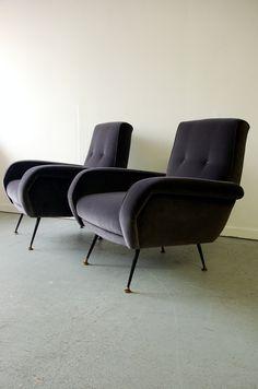 Pair 1950s Italian armchairs, Designers Guild varese velvet, midcentury modern