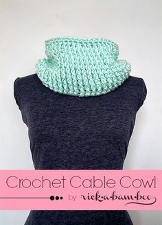 Crochet Cable Cowl. Free pattern.