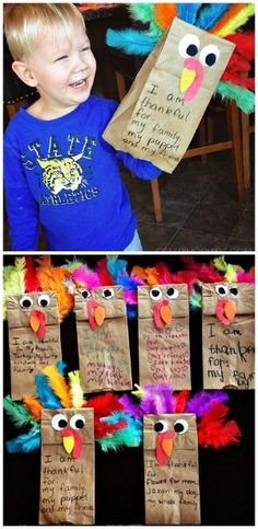 Paper bag turkey puppets - cute Thanksgiving craft for kids to make! by bernadette