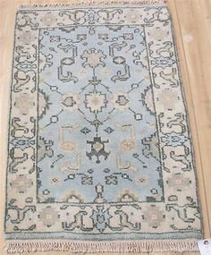 For girls' bathroom  2x3 Antiqued new hand knotted veg dyed wool Turkish oushak Oriental area rug