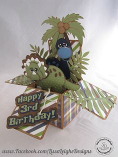 www.facebook.com/LissaLeigheDesigns scrappydew.com paper piecing card in a box dinosaurs boy birthday card silhouette cameo