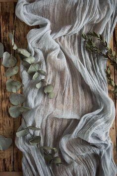 Light Grey Gauze Runner for Weddings Events by LinenLark on Etsy