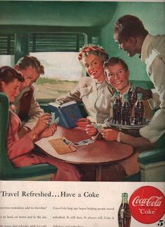 vintage coca cola train travel 1948 by FrenchFrouFrou on Etsy, $14.95