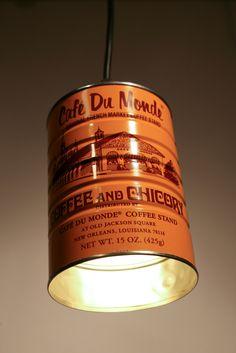 French Quarter Cafe Du Monde Coffee Can Pendant Light.