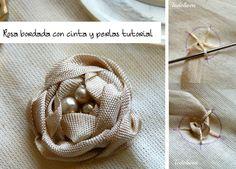 Rosas bordadas con cinta y perlas tutorial