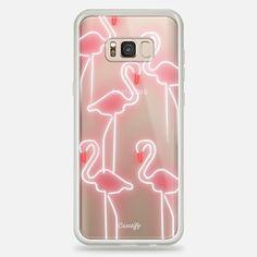 Samsung Galaxy S8+ Case Neon inspired flamingo pattern