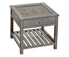 Mesa auxiliar de madera y vidrio - marrón