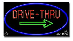 "Drive Thru Neon Sign - 20"" x 37""-ANS1500-5408  37"" Wide x 20"" Tall x 3"" Deep  Flashing Border ""ON/OFF"" switch  Sign is mounted on an unbreakable black or clear Lexan backing  110 volt U.L. listed transformer fits into a standard outlet  Hanging hardware & chain included  6' Power cord with standard transformer  For indoor use only  1 Year Warranty on electrical components  1 Year Warranty on standard transformers."