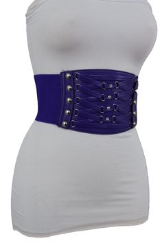 12 Different Colors Faux Leather Elastic Belt Corset Silver Metal Studs New Women Accessories S XL - Work Fashion, Style Fashion, Womens Fashion, Blue Suede, Brown Suede, Smee Costume, Wide Belts, Jewelry Party, Black Faux Leather