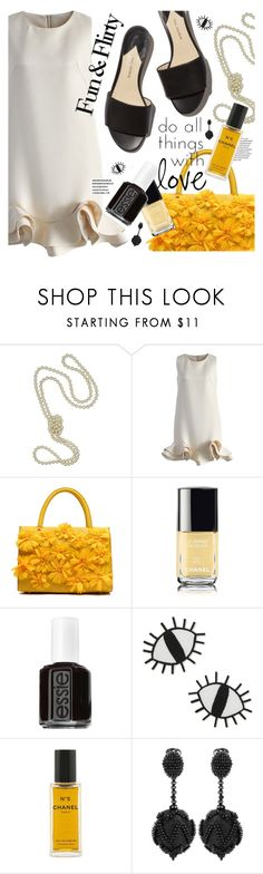 """""""Flower Power"""" by cultofsharon ❤ liked on Polyvore featuring Majorica, Chicwish, Chanel, Essie, ban.do and Oscar de la Renta"""