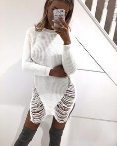 """271 kedvelés, 3 hozzászólás – OMGFashion.com (@omgfashiononline) Instagram-hozzászólása: """"The gorgeous @lenalenaxx wearing our """"White Distressed Dress"""" 🔥🙌🏻 - Link to website in bio"""""""