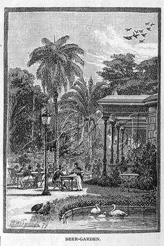 Rio de Janeiro, 1879 - Desenho do Café-Concerto, localizado no Passeio Público. 1879 Illustration of Passeio Publico, Cafe-Concerto