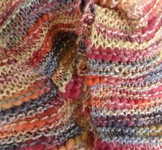 Chunky Long Scarf  Knit in Shades of Cream Gray by StitchesnQuilts, $45.00