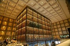This is the Beinecke Library at Yale. I am fascinated by this library. The walls are made of marble which preserves the books inside and keeps them from decaying. I enjoy books and i am glad that there is a way they can be preserved.