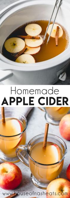 There is nothing like a mug of warm, perfectly spiced Homemade Apple Cider made in the slow cooker during the colder months of the year. It's perfect for sipping when the air gets chilly and apples are in season! Apple Cider Chicken Recipe, Easy Apple Cider Recipe, Best Apple Cider, Homemade Apple Cider, Apple Cider Donuts, Apple Recipes, Apple Pie, Chicken Recipes, Apple Cider In Crockpot