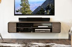 Round Curved Floating TV Stand - Radius - Driftwood Gray