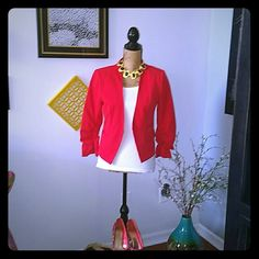 FUNKY ORANGE/ REDDISH BLAZER  Great spring blazer. Bright reddish, orange color with slouched sleeves and an eye hook closure in the middle. Can be worn opened or closed. Great for work, or with jeans and heels. Sold as is. XOXO Jackets & Coats Blazers