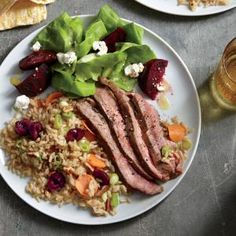 Grilled Flank Steak with Cherry-Pecan Rice  | CookingLight.com #myplate #protein #wholegrain #veggies
