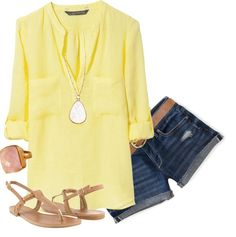 Summertime  #yellow #denim #casual