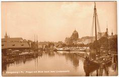 Foto-AK Königsberg-Ostpreußen,Pregel m.Blick n.d.Lindenmarkt u.s.w. 20er Jahre