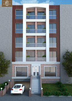 Residential Building Design, Residential Architecture, Modern Architecture, House Map, Apartment Plans, Building Facade, Exterior Design, House Plans, House Design