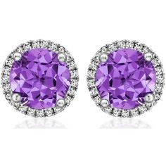 Kiki McDonough Grace Collection Purple Amethyst and Diamond Stud... ($1,200) ❤ liked on Polyvore featuring jewelry, earrings, purple amethyst jewelry, diamond jewelry, amethyst stud earrings, purple jewelry and white gold stud earrings