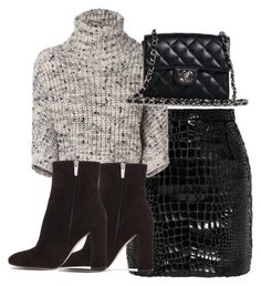 """""""Untitled #2501"""" by theeuropeancloset ❤ liked on Polyvore featuring Yves Saint Laurent, Brunello Cucinelli, Gianvito Rossi and Chanel"""