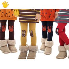 Kids Girls Cute Rabbit Knee Patch Leggings Warm Lined Tight Pants Trousers
