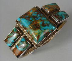 GORGEOUS Vintage ROYSTON Turquoise NAVAJO Cuff Bracelet