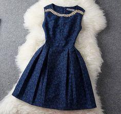 Fashion Blue Beading Rhinestone Embroidered Dress &Party Dress